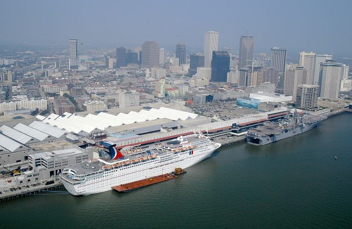 Carnival Ecstacy docked in New Orleans. Photo: Win Henderson.